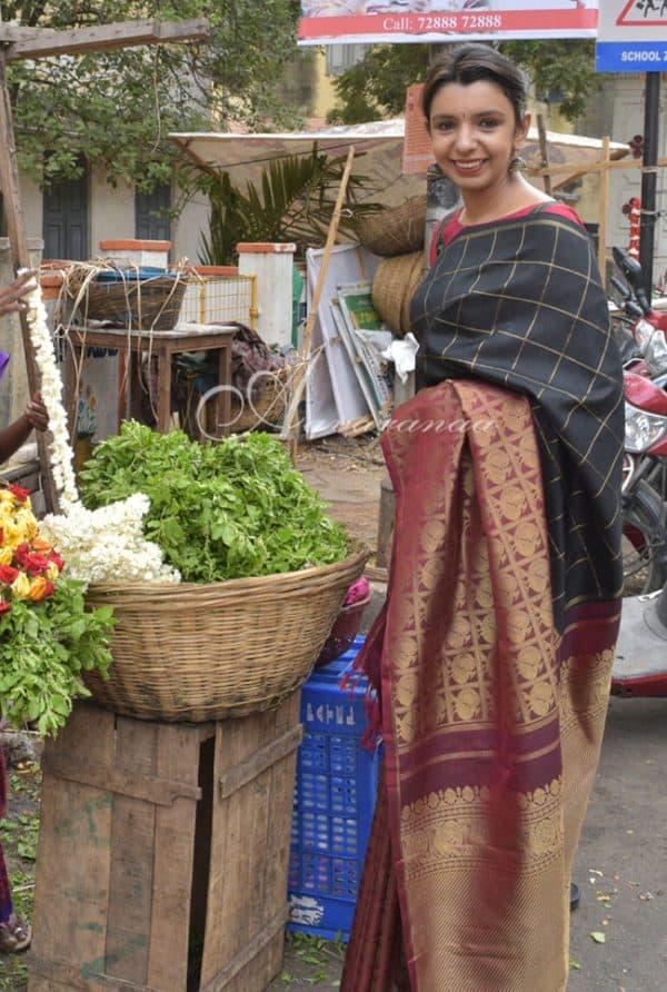 Black and maroon 1/2&1/2 kanchipuram silk saree-0