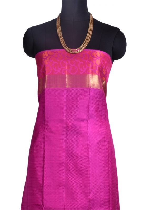 Off white kanchipuram silk saree with pink border-10277