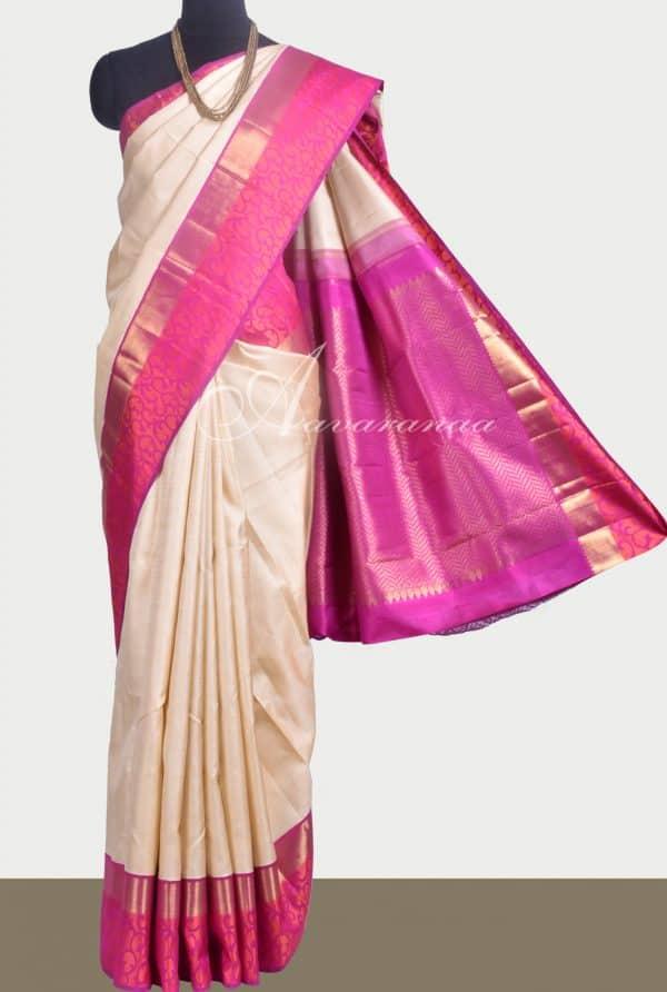 Off white kanchipuram silk saree with pink border-0