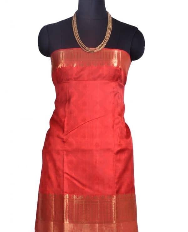 Off white kanchipuram saree with rust border-10285