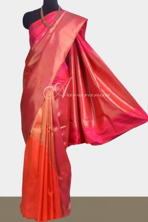 Pink and orange kanchipuram silk saree -0