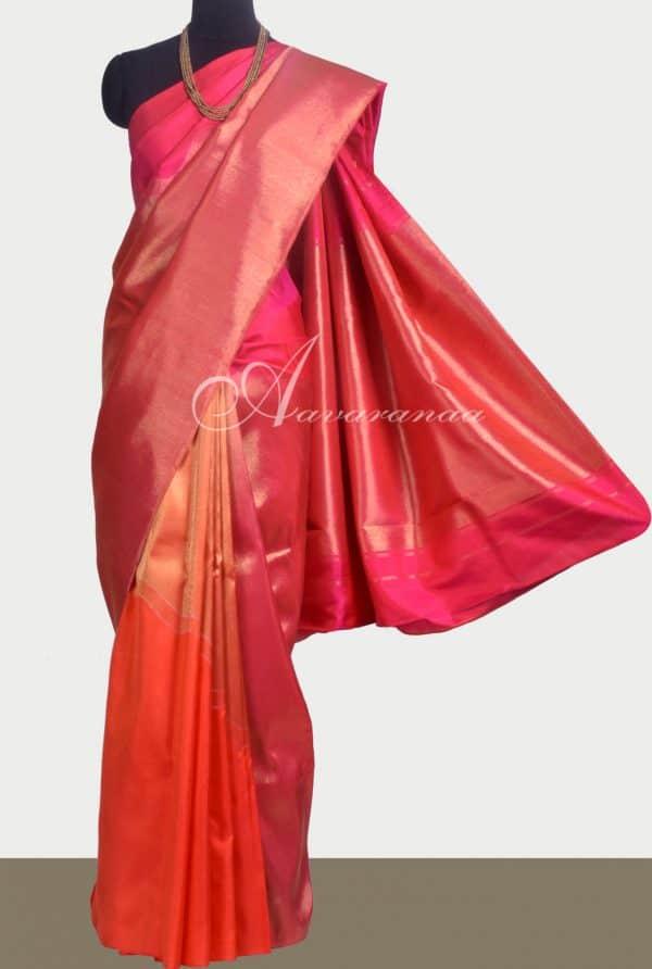 Pink and orange kanchipuram silk saree -0