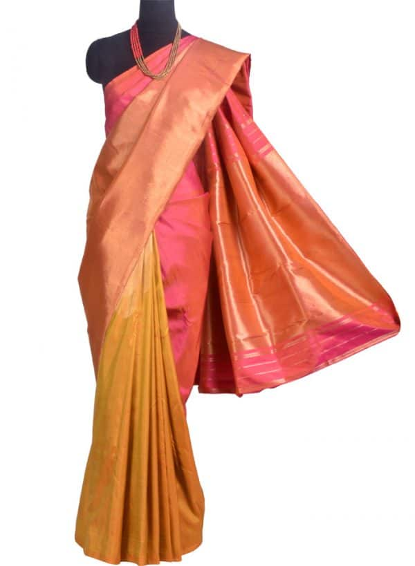 Mustard and peach 1/2 & 1/2 Kanchipuram silk saree -10299