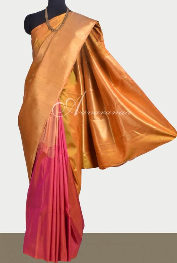Mustard and peach 1/2 & 1/2 Kanchipuram silk saree -0