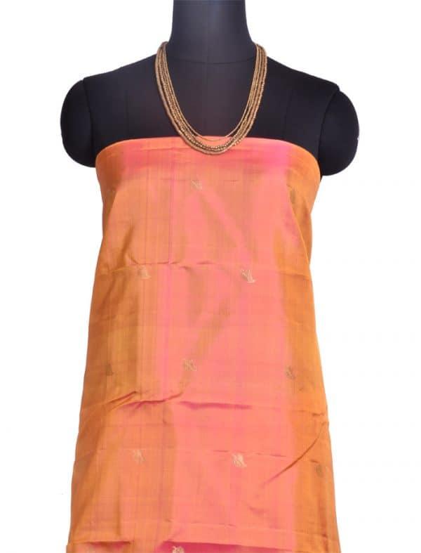 Peach and lime green kanchipuram silk saree-10305