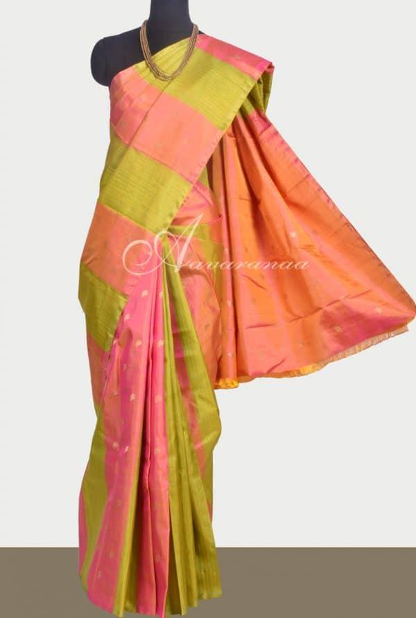 Peach and lime green kanchipuram silk saree-0
