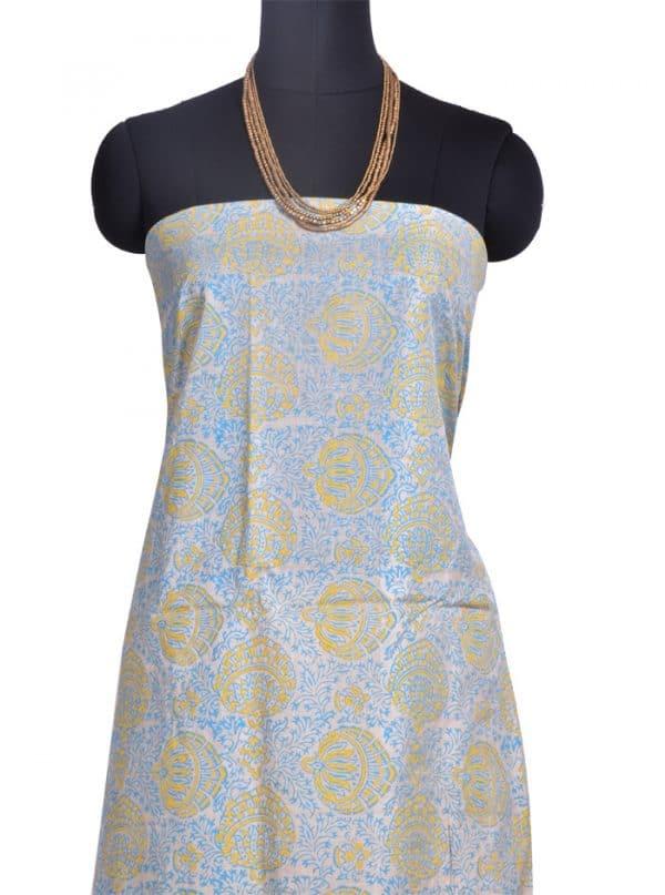 Blue and mustard rising design tussar saree-10331