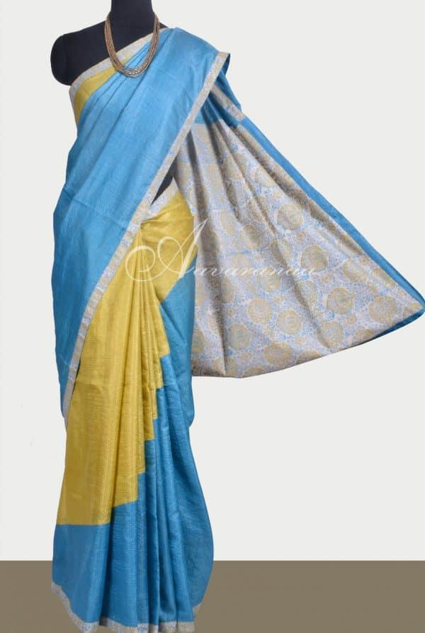 Blue and mustard rising design tussar saree-0
