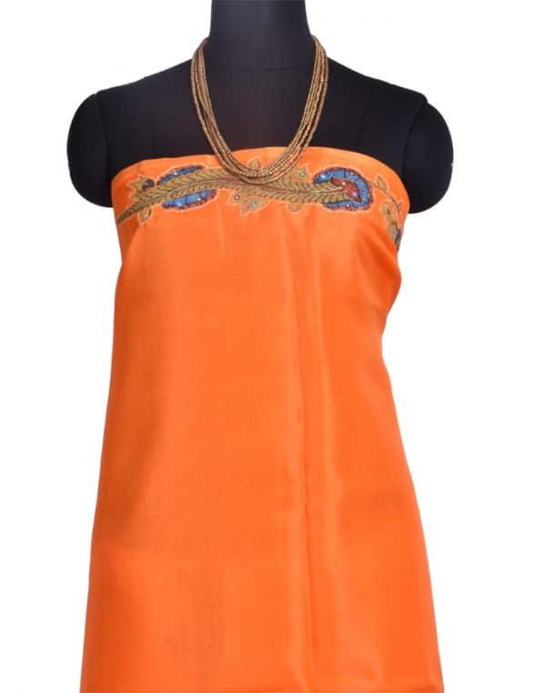 Orange Organza saree with kalamkari applique -10335