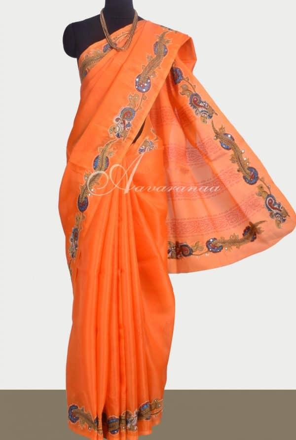 Orange Organza saree with kalamkari applique -0
