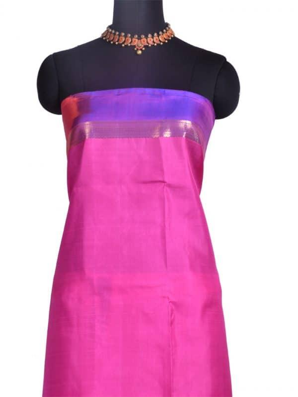 Beige kanchipuram silk saree with shaded border-10347