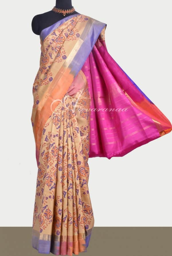 Beige kanchipuram silk saree with shaded border-0