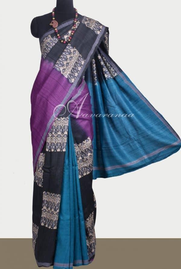 Black , blue & Violet shaded tussar saree-0