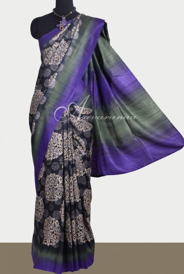 Black tussar saree with grey and violet border-0