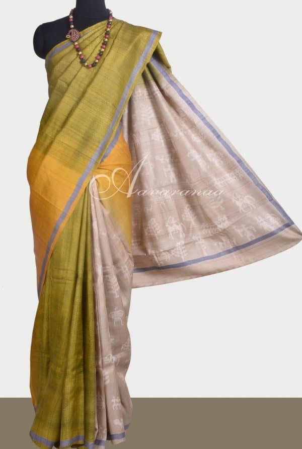 Green, mustard and beige tussar saree-0