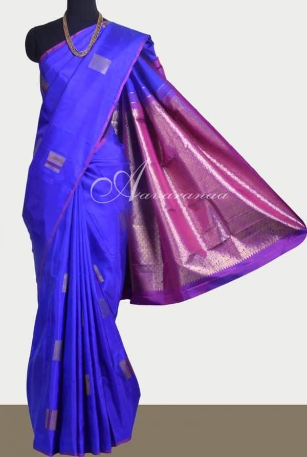 Blue and violet kanchipuram silk saree-0
