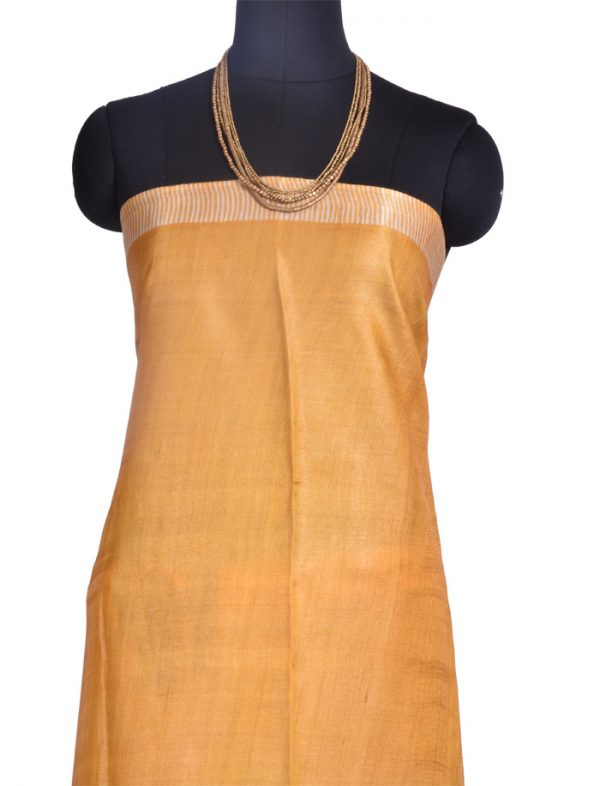 Mustard and off white block printed tussar saree-10379