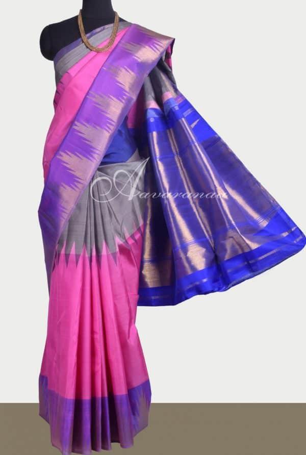 Pink kanchipuram silk saree with ganga jamuna border-0