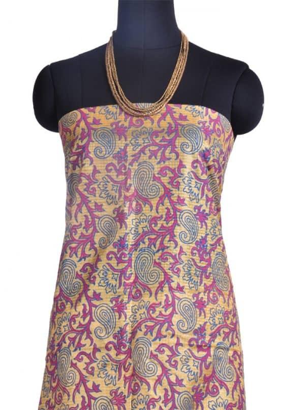 Pink and blue rising design tussar saree -10419