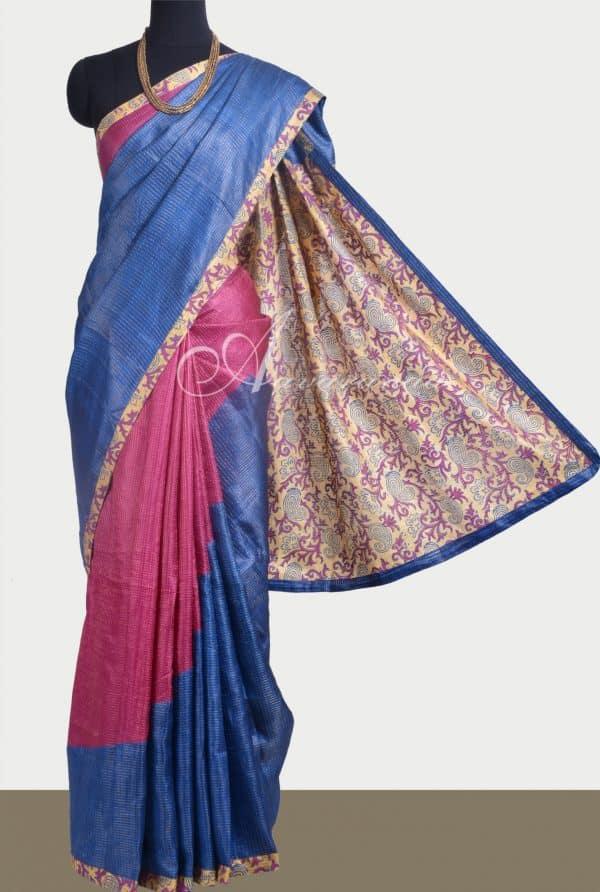 Pink and blue rising design tussar saree -0