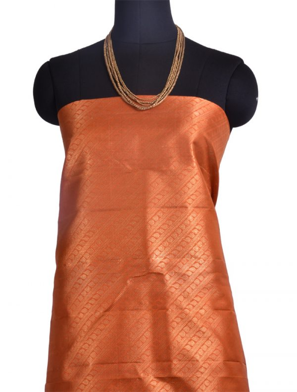 Violet kanchipuram silk saree with orange pallu -10457