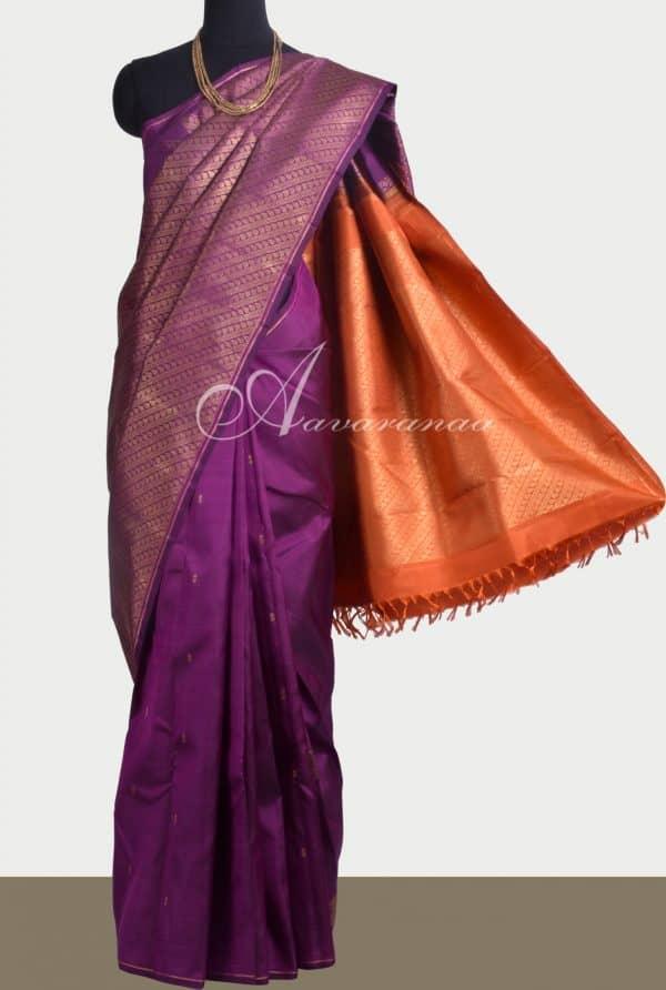 Violet kanchipuram silk saree with orange pallu -0