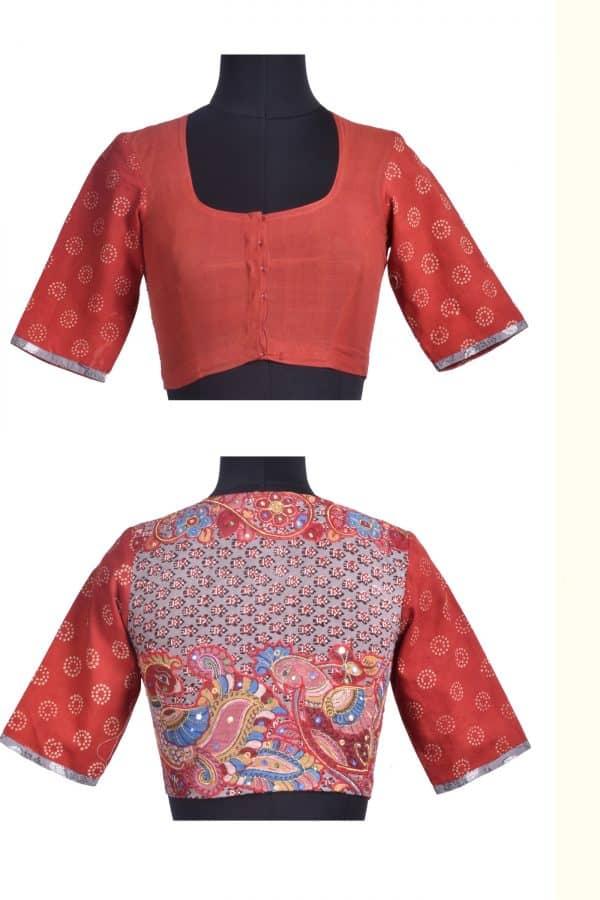 Rust cotton blouse -0
