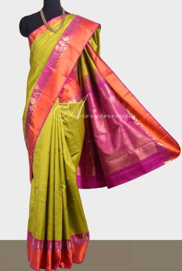 Green kanchipuram silk saree with majenta and orange border-0