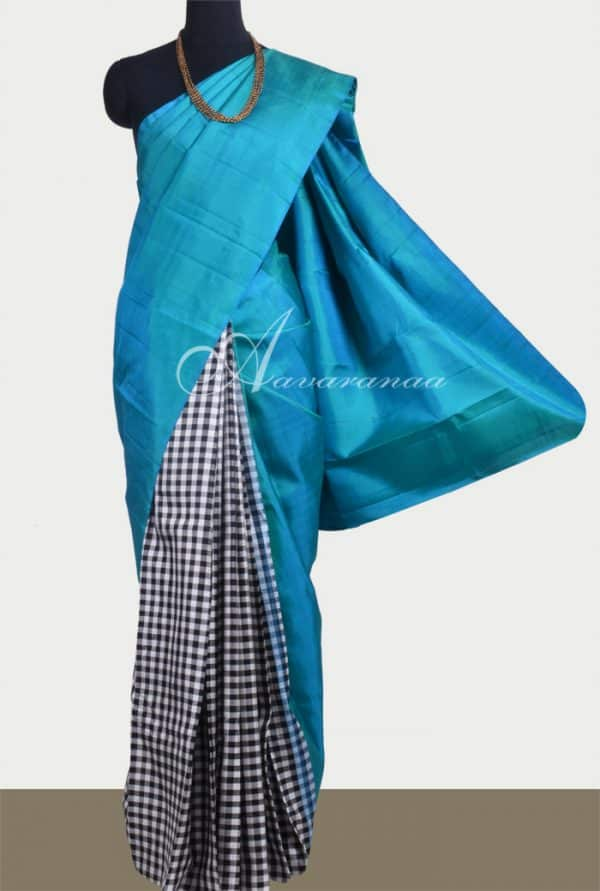 Blue with black and white checked half & half kanchipuram silk saree-10489