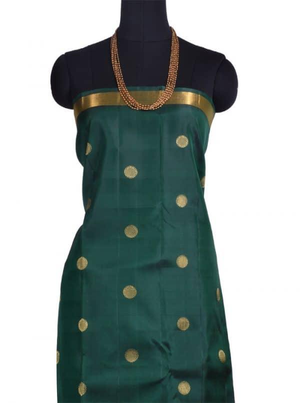 Bottle green and maroon kanchipuram silk sari -10512