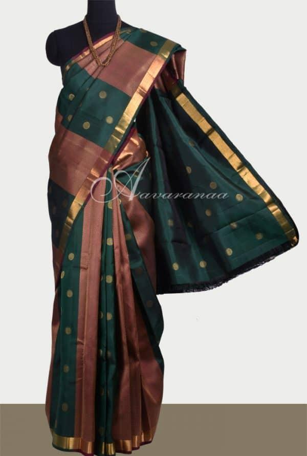 Bottle green and maroon kanchipuram silk sari -0