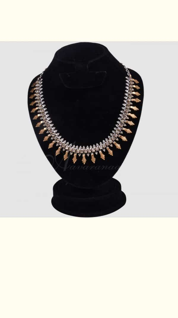 Silver and gold zircone necklace -0