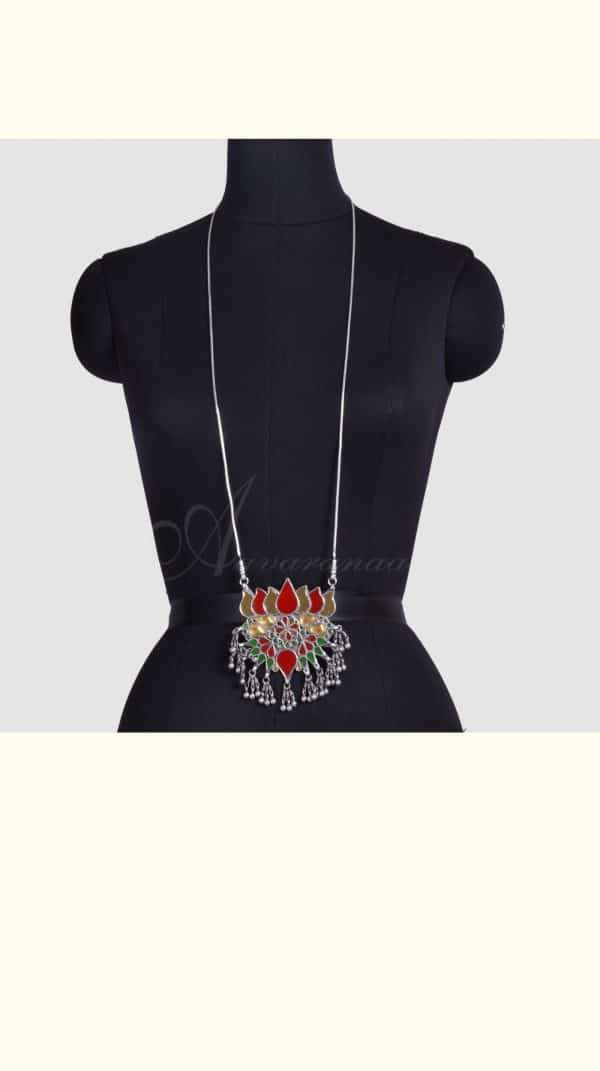 Red and gold lotus pendant with chain-0