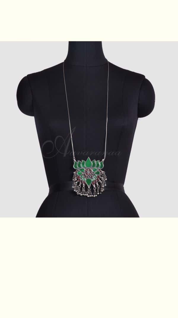 Green glass work lotus pendant with chain-0