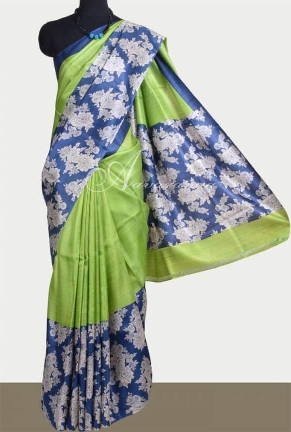 Green tussar saree with blue border-0