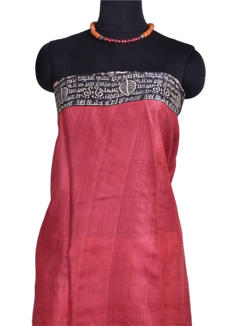 Mustard tussar saree with red and black border-10680