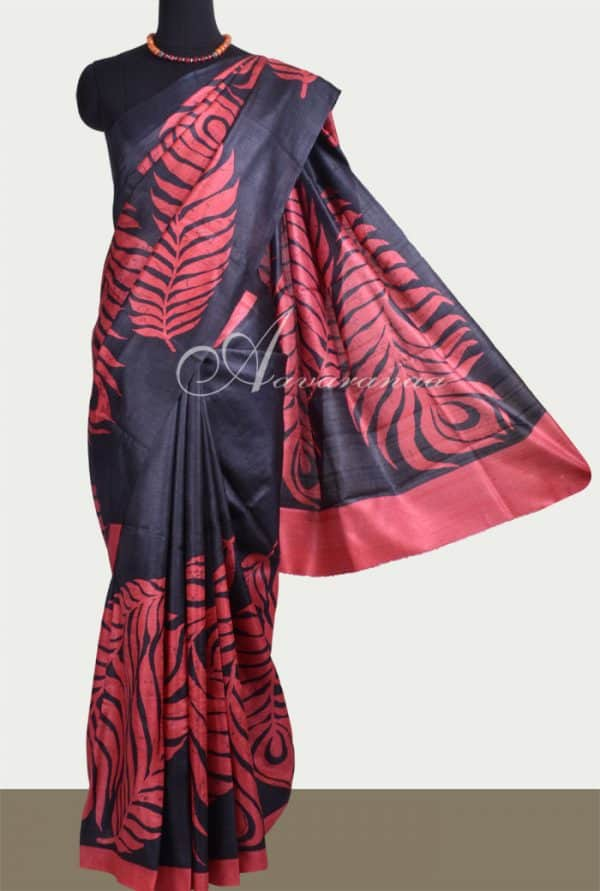 Black tussar saree with red leaf prints -0
