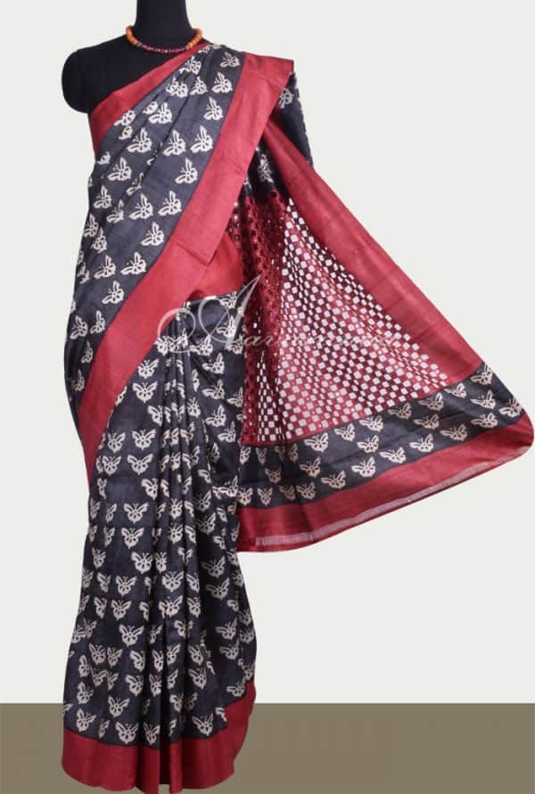 Black tussar saree with red cutwork pallu -0