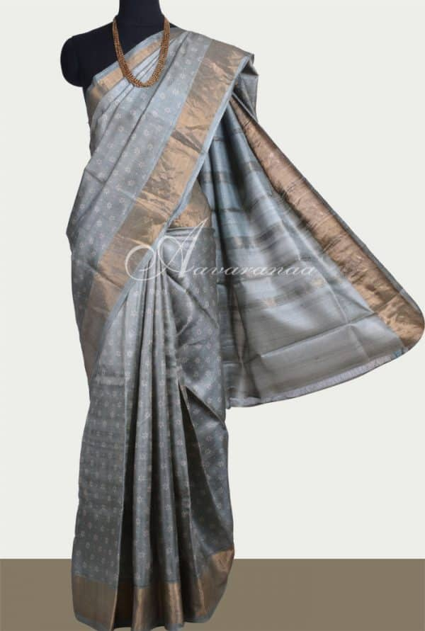 Grey tussar saree with tissue border-0