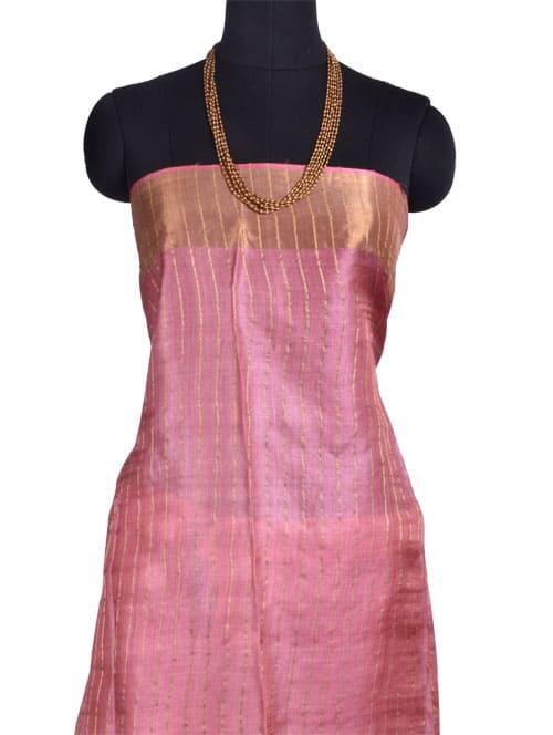 Pink tussar saree with tissue border-10714