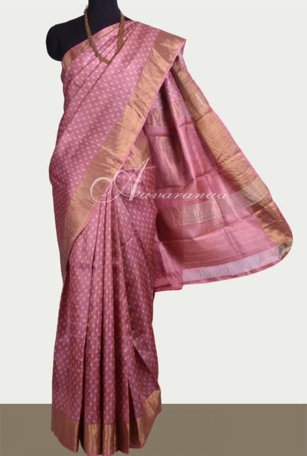 Pink tussar saree with tissue border-0