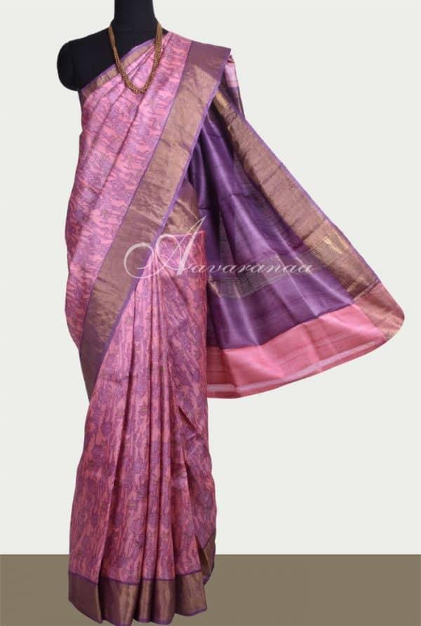 Pink tussar saree with purple tissue border-0