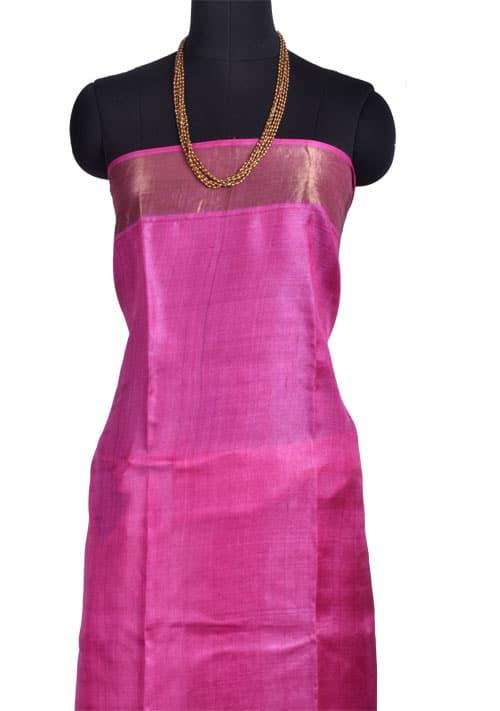 Grey tussar saree with pink tissue border-10753