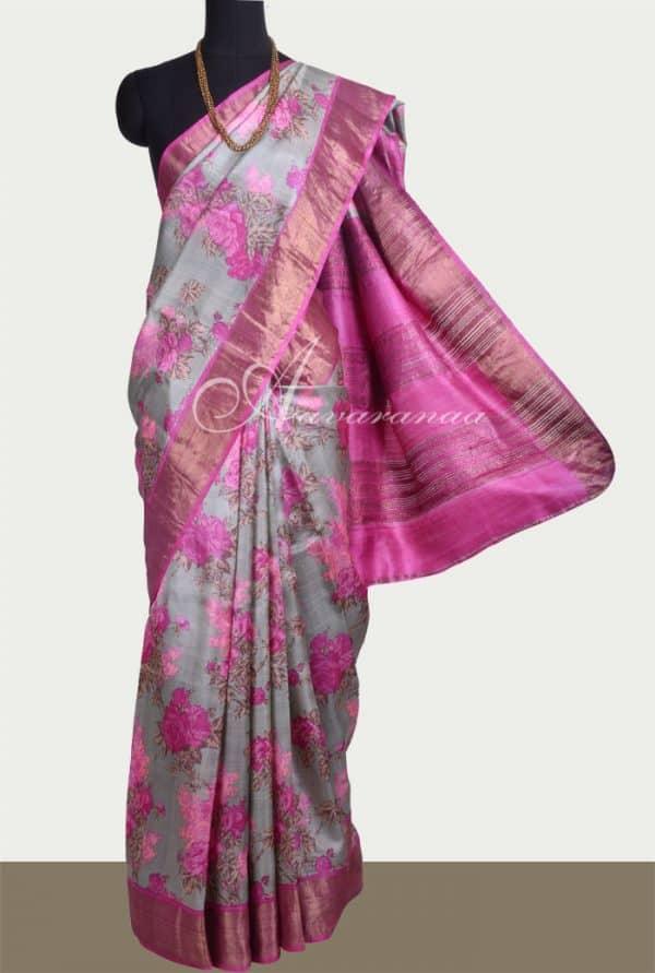Grey tussar saree with pink tissue border-0