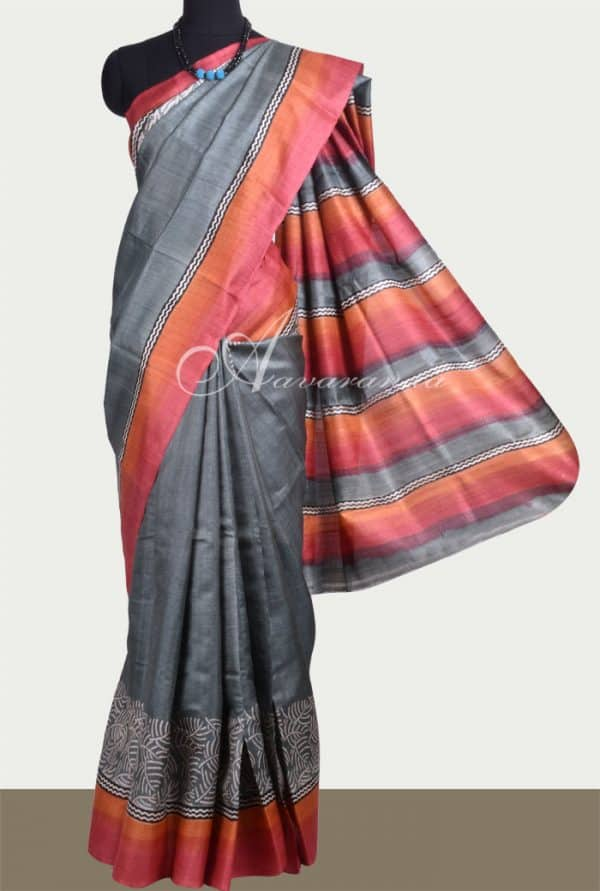 Grey tussar saree with orange and red border-0