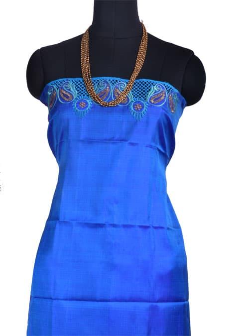 Blue & green half-half kanchipuram silk saree with cutwork -10747