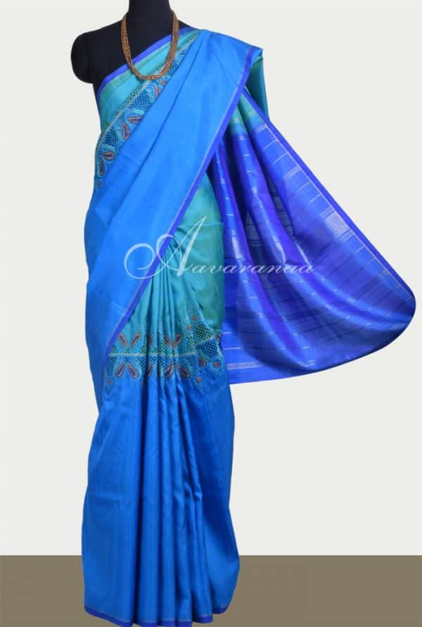 Blue & green half-half kanchipuram silk saree with cutwork -0