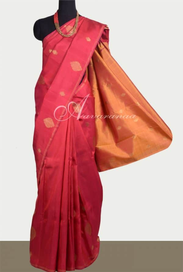 Maroon kanchipuram silk saree with mustard pallu -0