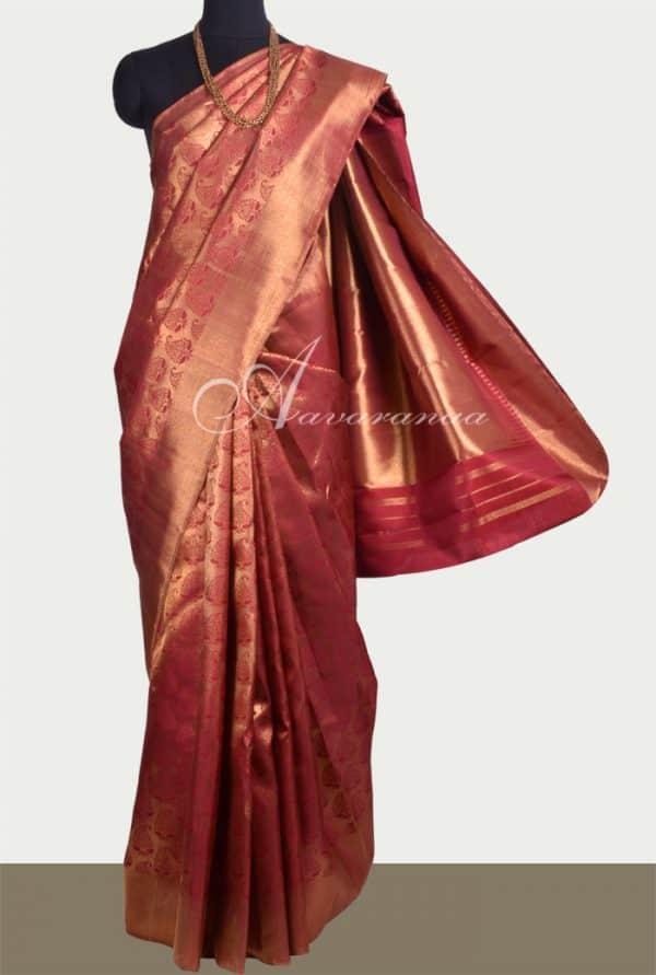 Arakku bridal kanchipuram silk saree -0