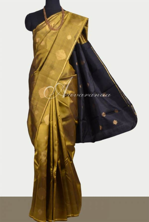 Oil mustard kanchipuram silk saree with black pallu -0